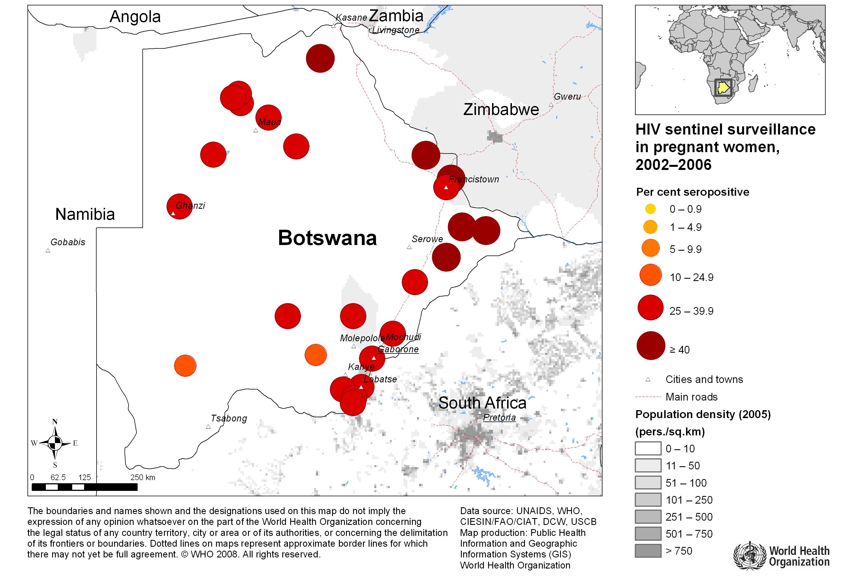 Karte der bevölkerungsdichte und andere karten von botsuana