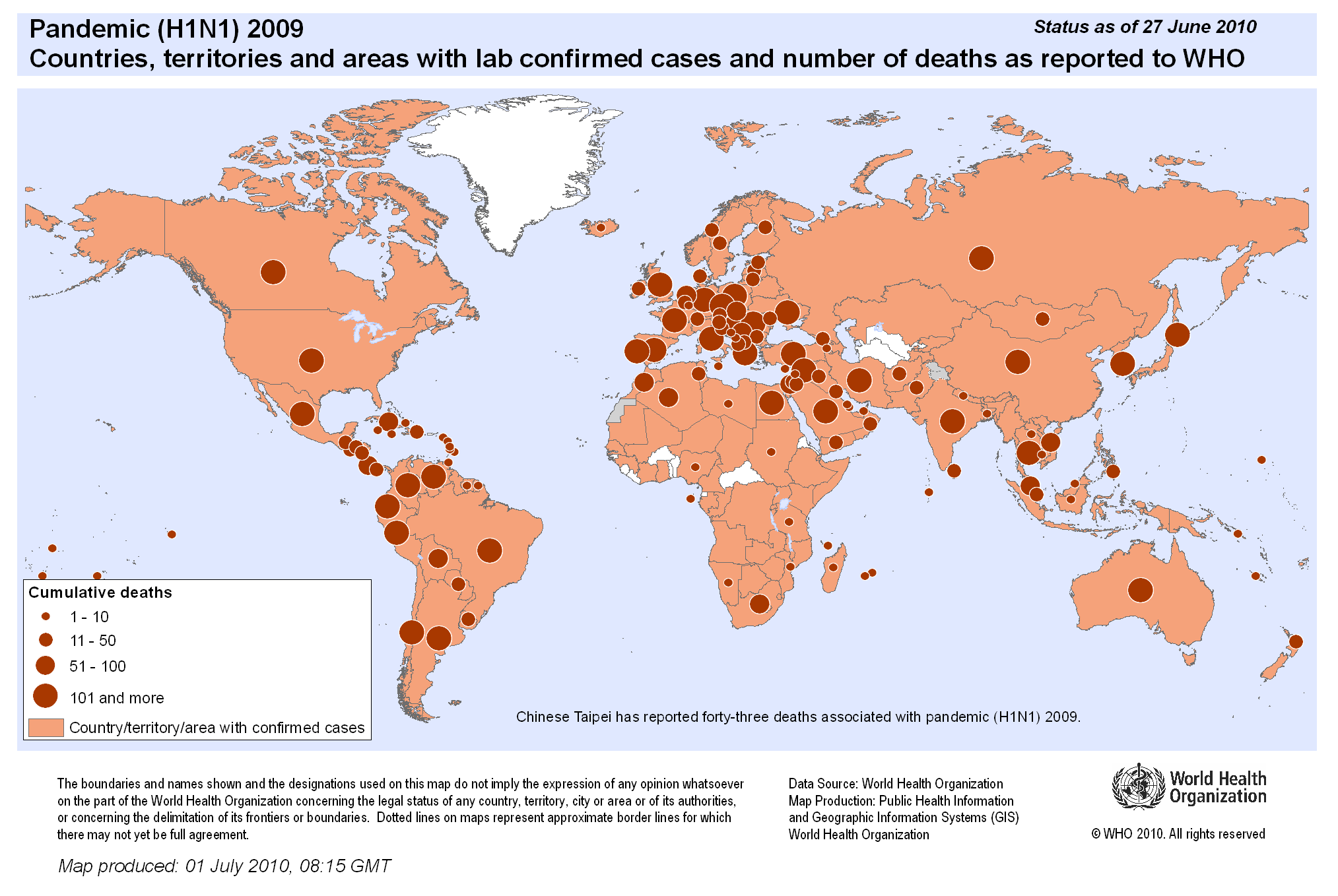 world pandemic h1n1 2009 countries territories and