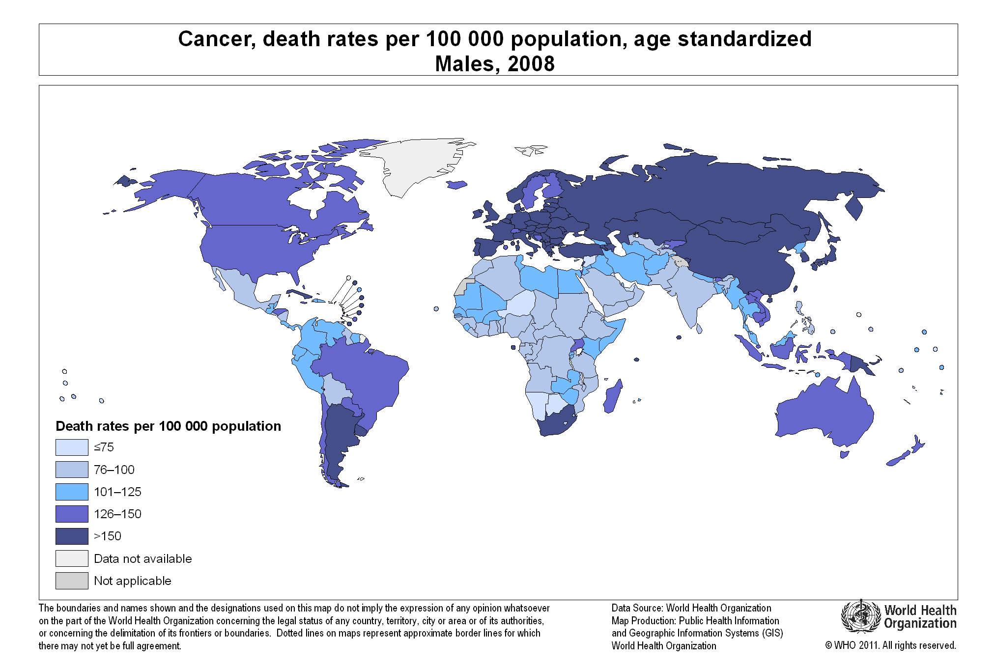 WHO IndexMundi Blog - Us cancer rate map