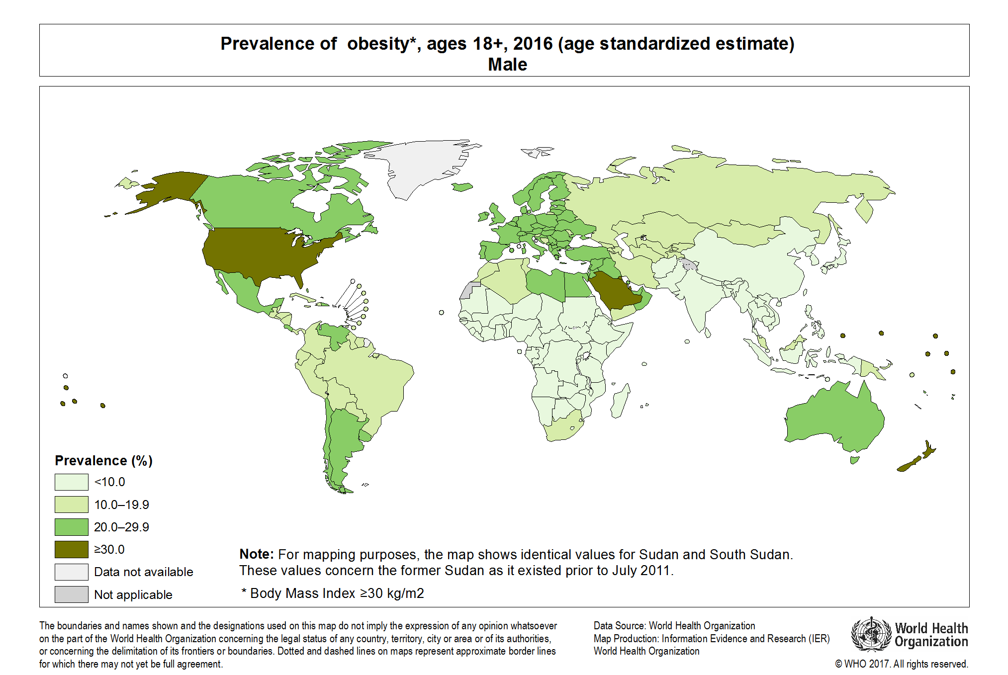 WHO Global Health Observatory Map Gallery - male map