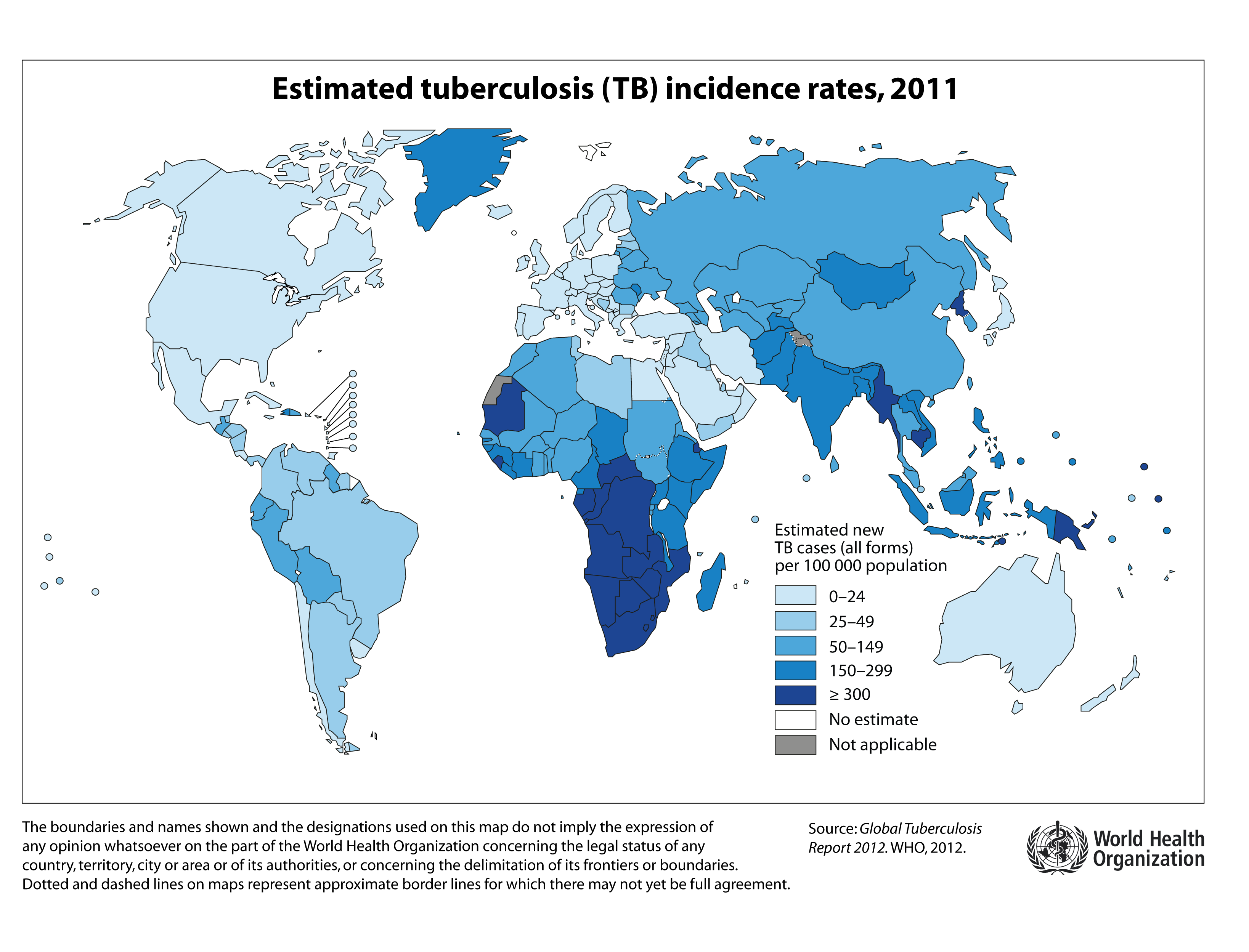 World Estimated Tuberculosis Tb Incidence Rates 2011