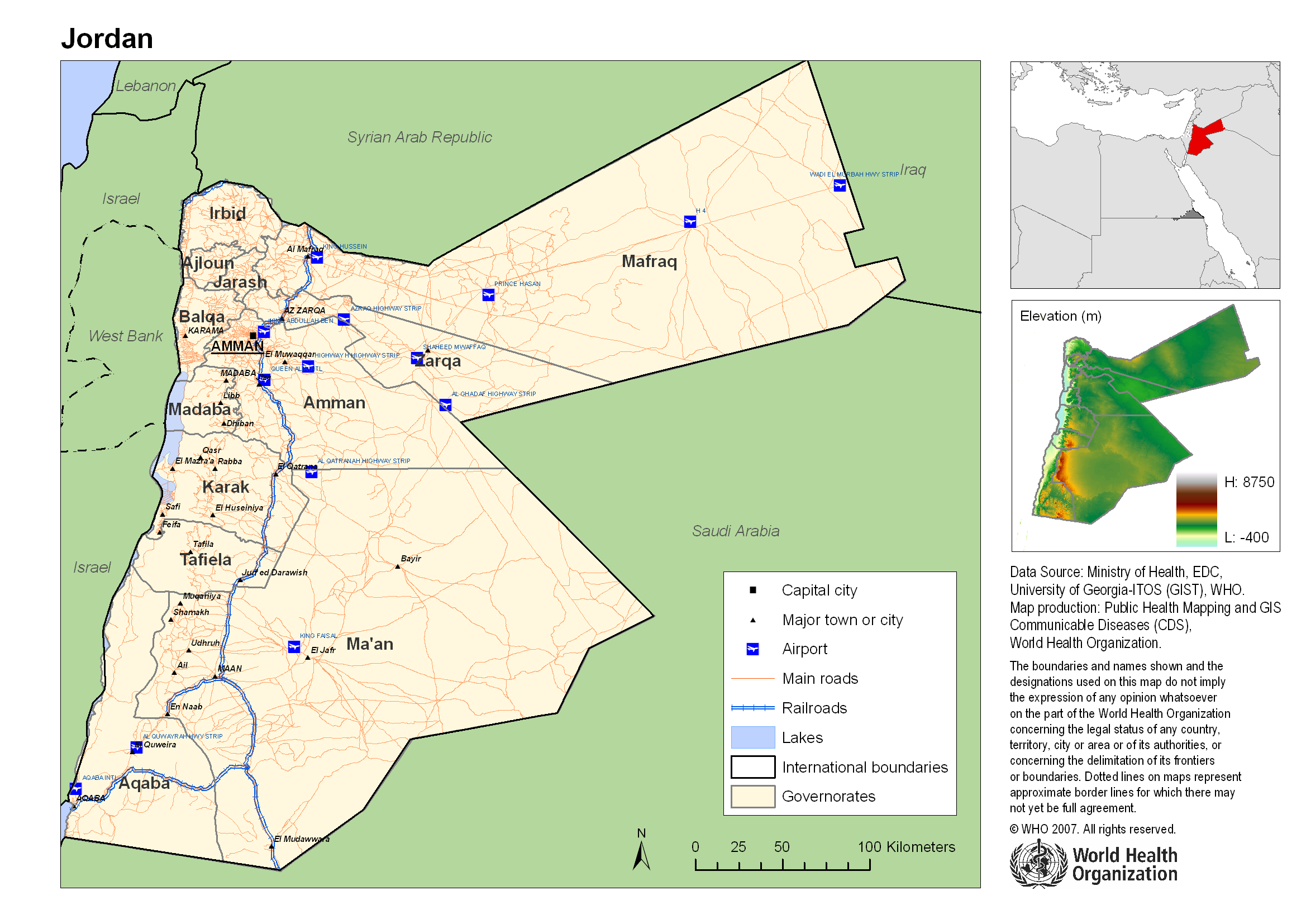 Reference map of jordan jordan reliefweb map from world health organization published on 23 jul 2007 view original gumiabroncs Images