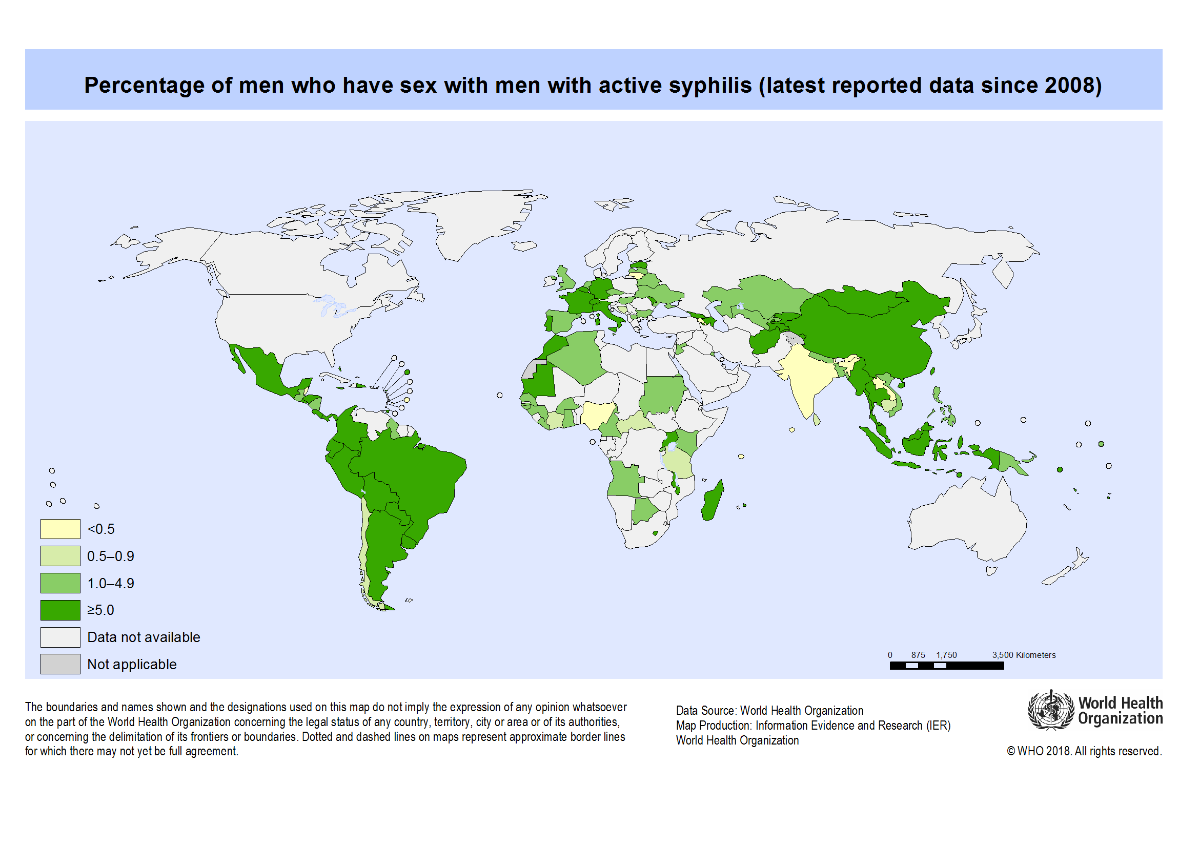 WHO Global Health Observatory Map Gallery - Green and blue world map